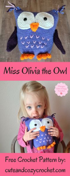 Miss Olivia the Owl | Free Crochet Pattern | Amigurumi | Stuffed Owl | Baby Gift | Baby Shower | Birthday | Fun Crochet Project | Mary's Cute & Cozy Crochet | Big Eyes | Adorable Owl | Vanna's Choice Yarn | Lion Brand Yarn | Periwinkle | Lilac | Orange | White | Purple