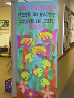 Door Decoration- Fish/Underwater Theme. --- I think this would be cute as a beginning of the year bulletin board! A fish for each student?