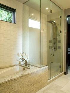 Master bathroom idea. Love tall all-glass showers.