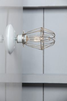 Cage Sconce Light Vintage Wire Cage Light Wall Mount by IndLights