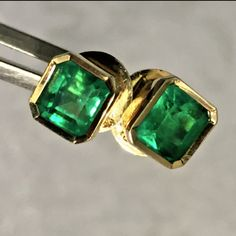 1.24 ct Stunning Natural Colombian Emerald Stud Earrings 18k Best Color!