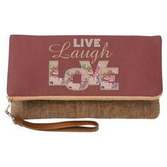 Live, Laugh, love clutch bag.