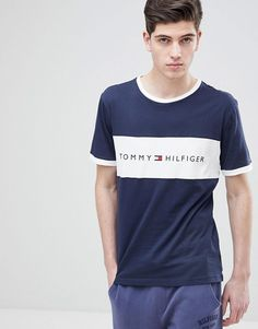 Tommy Hilfiger Chest Logo Panel T-Shirt Cut & Sew in Navy/White