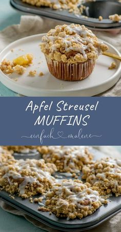 streusel The juiciest apple crumble muffins ever - with extra cinnamon. Muffin-shaped apple pie - perfect in your hand and just as tasty as apple crumble cake. A lot of cinnamon and fluffy dough make the recipe perfect! Simple Muffin Recipe, Healthy Muffin Recipes, Healthy Muffins, Donut Recipes, Healthy Snacks, Cupcake Recipes, Pie Recipes, Apple Crumble Muffins, Cinnamon Crumble