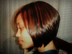Angled bob and highlights Salon Adeaux