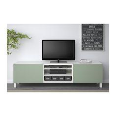 "BESTÅ TV unit with drawers - white/Lappviken green, drawer runner, soft-closing, 70 7/8x15 3/4x18 7/8 "" - IKEA"