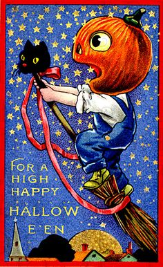 JOL Boy Flying Into Celestial Territory--Vintage Halloween Postcard (for Avelar-Ramos Image Halloween, Halloween Goodies, Halloween Prints, Halloween Pictures, Holidays Halloween, Spooky Halloween, Happy Halloween, Victorian Halloween, Halloween Clothes