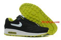 771788661b Mens #Nike #Air #Max 1 Premium Denim Black White Cyber Cool Grey Shoes