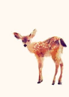 Beautiful painting of a fawn. This brings back memories of watching the beloved Bambi Disney film.