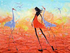 Figurative Australian Painting - Judy Prosser - Sandfire Girl and Brolgas