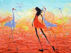 Figurative Australian Painting - Judy Prosser - Sandfire Girl and Brolgas