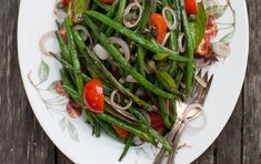 Grilled green bean salad sliced shallots cherry tomatoes capers basil s&p lemon olive oil