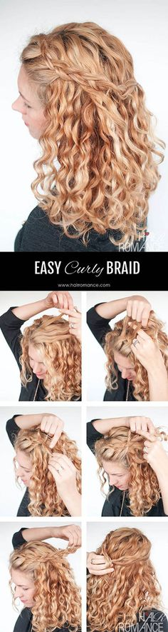 Cute braided hairdo on curly hair