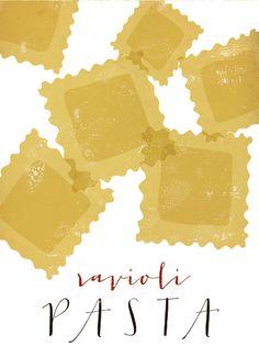 Ravioli pasta graphic culinary art от FowlerCreativeArts на Etsy