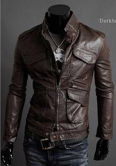 New Mens Fashion Slim Fit Zipper PU Leather Coat Jacket Size XS S M Z287  Edit item ef5d08c8c3