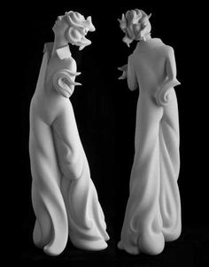 White ceramic bisque Interior Sculptures #sculpture by #sculptor Andrea Bucci titled: 'Water (Semi Abstract figurative Nymph Sculptures)' £2167 #art