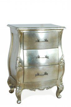 Elegantly shaped silver bedside from our 'St Tropez' range. Rococo, Baroque, Mirrored Furniture, Shabby Chic Furniture, French Furniture, Bedroom Furniture, 3 Drawer Bedside Table, Bedside Tables, Silver Side Table