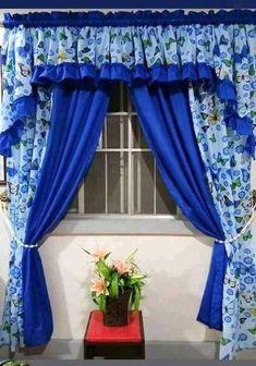 Kitchen Curtain Designs, Window Curtain Designs, Drapery Designs, Curtain Styles, Curtains And Draperies, Home Curtains, Kitchen Curtains, Valance Patterns, Wooden Sofa Set Designs