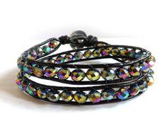 Bracciale DONNA stile Chan Luu 2 giri vetro sfaccettato braccialetto wrap bracelelet - Creato da: Mosquitonero shop