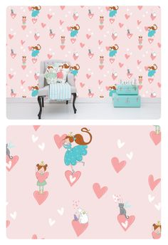Lisa & Lilly it's all about love wallpaper.  See Lisa & Lilly, clouddog Dolly, fairycat Lucky and a little purple bird Birdie in love.  Great to combine with the hearts wallpaper.