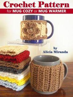 free crochet cup warmer pattern | Crochet Pattern for Mug Cozy or Mug Warmer by Alicia Miranda ...