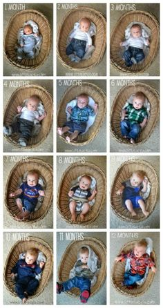 Use a Basket to Show Baby's Growth like Little Lucy Lu. Monthly Baby Photo Ideas - Track Your Baby's Age in Photos plus FREE Monthly Printable Milestone Stickers and Signs on Frugal Coupon Living.