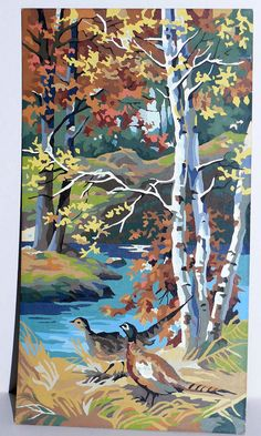 PBN Pheasants and Birch Trees Paint By Number Kit Painting Kitsch Vintage Collectible. $52.00, via Etsy.
