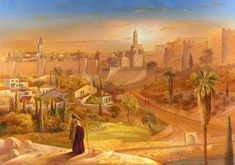 Jerusalem at first Sight (Alex Levin) - NER Art Gallery Arte Judaica, Temple In Jerusalem, Religion, Biblical Art, Jesus On The Cross, Jewish Art, The Kingdom Of God, Ancient Civilizations, Beautiful Paintings