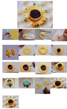 Buttercream Flowers Tutorial, Fondant Flower Tutorial, Fondant Flowers, Sugar Flowers, Cake Tutorial, Fondant Numbers, Sunflower Cakes, Gum Paste Flowers, Fondant Decorations