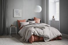 H&M home new season, grey and terracotta bed linen, grey wooden flooring #BedLinenBeautiful