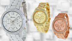 Classic Ladies Boyfriend Watch - 3 Colours Top up your look with the elegant Classic Ladies Boyfriend Watch      Available in gold, rose gold or silver      Stunning woman's timepiece with a stylish design      Watch has a round face, encrusted cubic zirconia      Contemporay style of this chic watch will look fabulous with any outfit      Band width: 0.75 inches      A great way to give your...