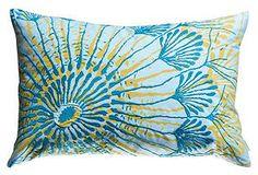 ONE KINGS LANE: Water Fans 13x20 Pillow, Blue