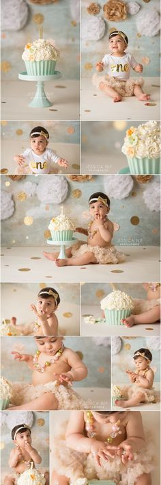 Baby First Birthday Pictures Color Schemes 69 Ideas For 2019 Baby Girl 1st Birthday, Birthday Cake Smash, First Birthday Cakes, 1st Birthday Photoshoot, Cupcake Birthday, Baby Girl Cakes, Cake Baby, Cake Girls, 1st Birthday Pictures