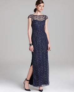 Kay Unger Cap Sleeve Gown - Lace Overlay   Bloomingdale's