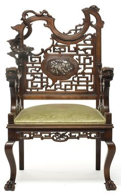 Armchair Attributed to Gabriel Viardot France, 1880 Alder stained, carved and inlaid pearl - Les Arts Decoratifs: Asian Furniture, Chinese Furniture, Furniture Styles, Unique Furniture, Vintage Furniture, Furniture Decor, Furniture Design, Style Asiatique, Antique Chairs