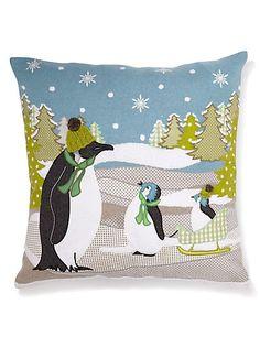 Penguin Scene Appliqué Cushion