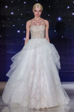 Ball Gown Wedding Dresses : Reem Acra strapless lace ball gown wedding dress.