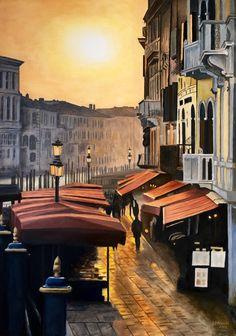 """Dawn in Venice"", oil on panel, 50 x 70 cm"