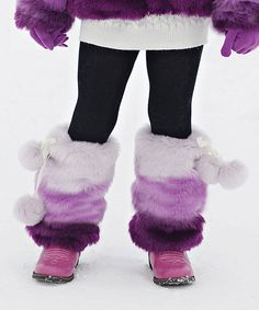 Look at this #zulilyfind! Donna Salyers' Fabulous-Furs Purple Faux Fur Pom-Pom Leg Warmers by Donna Salyers' Fabulous-Furs #zulilyfinds