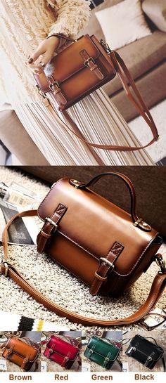 Which color do you like? Retro Brown Glossy Flap Magnetic Metal Button Handbag PU Messenger Bag Shoulder Bag #retro #pu #Handbag #shoulder #Messenger #brown