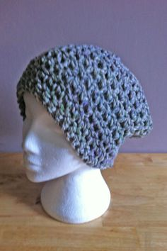 Hand Crochet Super Chunky Grey Slouchy Beanie Hat / Wool Hat / Ski Hat / Beanie