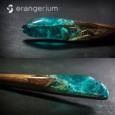 Unique handmade hair stick. Made of blue resin with sparkling delicate swirls, white moss, shells and mahogany wood. Resin polished to high gloss...
