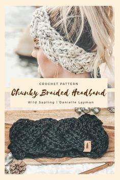 Headband Pattern / Braided Chunky Headband / Crochet Pattern / Quick and Easy crochet pattern / Ear Warmer Pattern / PDF Crochet Pattern Crochet Headband Pattern, Easy Crochet Patterns, Crochet Yarn, Crochet Hooks, Crochet Ideas To Sell, Crochet Gift Ideas For Women, Crochet Ear Warmer Pattern, Knit Headband, Crocheting Patterns