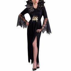 Women Vampire Girl Witch Dress Adult Gothic Dark Queen Cosplay Cobweb  Spider Fancy Carnival Halloween Costume 532bf790016d