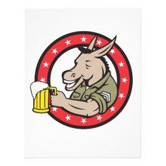 Donkey Beer Drinker Circle Retro Letterhead - horse animal horses riding freedom