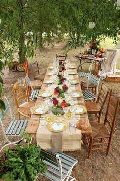 10 Country Chic and Rustic Wedding Tablescapes - Mismatched Table Chairs and China  Some cute ideas that would fit our floral picks :)