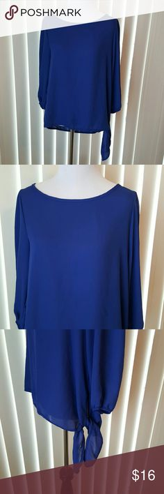 Bright Blue Flowing Blouse With Tie Waist Bright blue. EUC. Tie at side of waist. Size L. Dainty Hooligan Tops Blouses