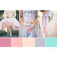 Paleta de cores delicada e romântica! ?? Quem gosta? Combina tanto para casamentos diurnos e vintage... #inlove #amolapisdenoiva #paletadecores #romantico {via: One Fab Day}