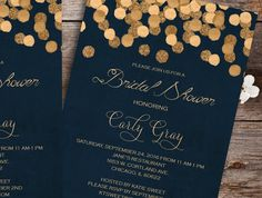 Gold Glittering Confetti bridal shower Invitation printable, navy blue bridal shower Invitation, wedding shower printable For Matching RSVP and/or Save the Date and other matching Add-ons please check here: