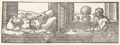 Een tekenaar tekent een vrouw, Albrecht Dürer, 1525